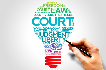 Court bulb word cloud concept